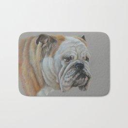 ENGLISH BULLDOG Realistic Dog portrait Pastel drawing on gray background Bath Mat
