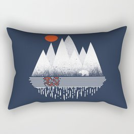 Chill of Winter - Geometric mountains polar bear with sun and melting Rectangular Pillow