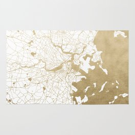 Boston White and Gold Map Rug