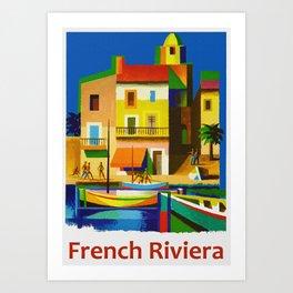 Vintage French Riviera Travel Ad Art Print
