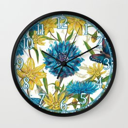 Seamless floral pattern with flowers and butterfly Wall Clock