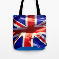 england Tote Bags featuring England Flag by Fine2art