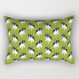 Cute double hooded pied French Bulldog wants your attention Rectangular Pillow