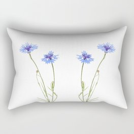 Two blue cornflower flowers isolated on white Rectangular Pillow