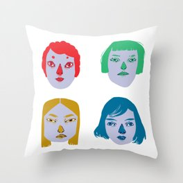 The Powerful Female Heads Throw Pillow