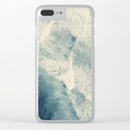 Ice Blue Surf Clear iPhone Case
