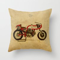 ducati Throw Pillows featuring Ducati 750SS Corsa 1974 by Larsson Stevensem