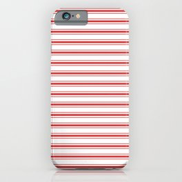 Mattress Ticking Wide Striped Pattern in Red and White iPhone Case