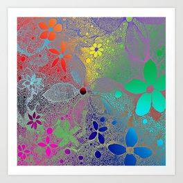 Flowers In Lace Rainbow Art Print
