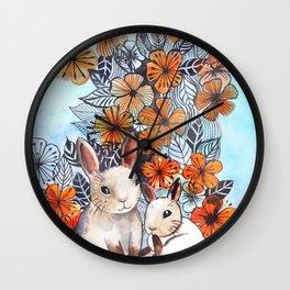 Easter Bunnies Wall Clock