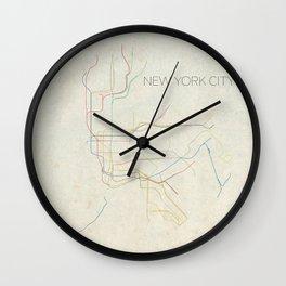 Minimal New York City Subway Map Wall Clock