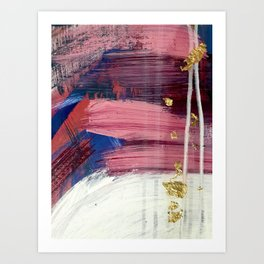 Los Angeles [3]: A vibrant, abstract piece in reds and blues and gold by Alyssa Hamilton Art Art Print