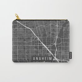 Anaheim Map, California USA - Charcoal Portrait Carry-All Pouch