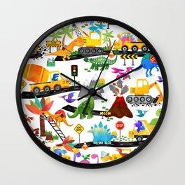 Watercolor Dinosaur Construction Crew Wall Clock