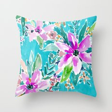 TROPICAL BENEVOLENCE Aqua Floral Throw Pillow