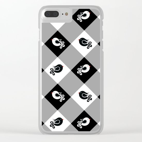 black and white birds 1 Clear iPhone Case