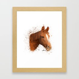 Brown and White Horse Framed Art Print