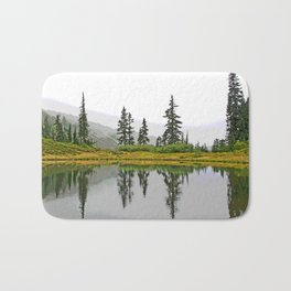 REFLECTIONS ON A PLACID MOUNTAIN LAKE Bath Mat