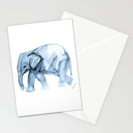 Elephant Sketch in Blue Stationery Cards