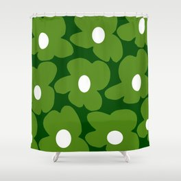 Spring Green Retro Flowers Dark Green Background #decor #society6 #buyart Shower Curtain