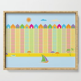 Beach cabins pattern stripes Serving Tray