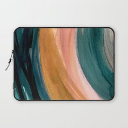 Breathe: a vibrant bold abstract piece in greens, ochre, and pink Laptop Sleeve