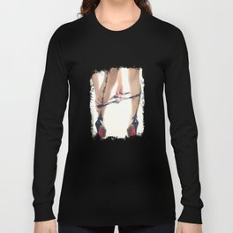 Sexy Woman in Heels and Whip Me, Bite Me, Eat Me, Tease Me, Nylons Long Sleeve T-shirt