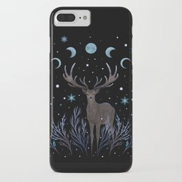 Deer in Winter Night Forest iPhone Case