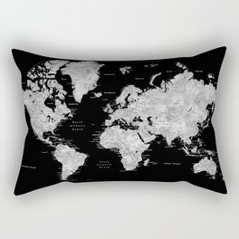 Black and grey watercolor world map with cities Rectangular Pillow