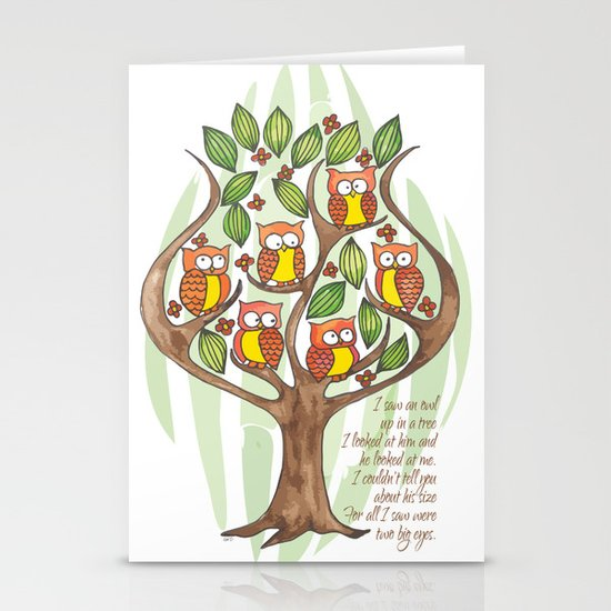Owl Tree Stationery Cards
