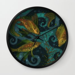 Golden Fish, Black Teal, Underwater Art Wall Clock