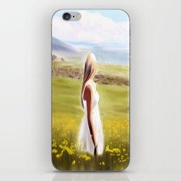 Girl in fields (digital painting) iPhone Skin