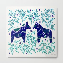 Swedish Dala Horses – Navy & Blue Palette Metal Print