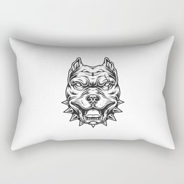 Tete Pitbull Noir Blanc Rectangular Pillow
