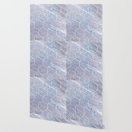 Botanico Porpora - purple marble hexagons Wallpaper