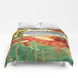 red chinese asian flying dragon Comforters