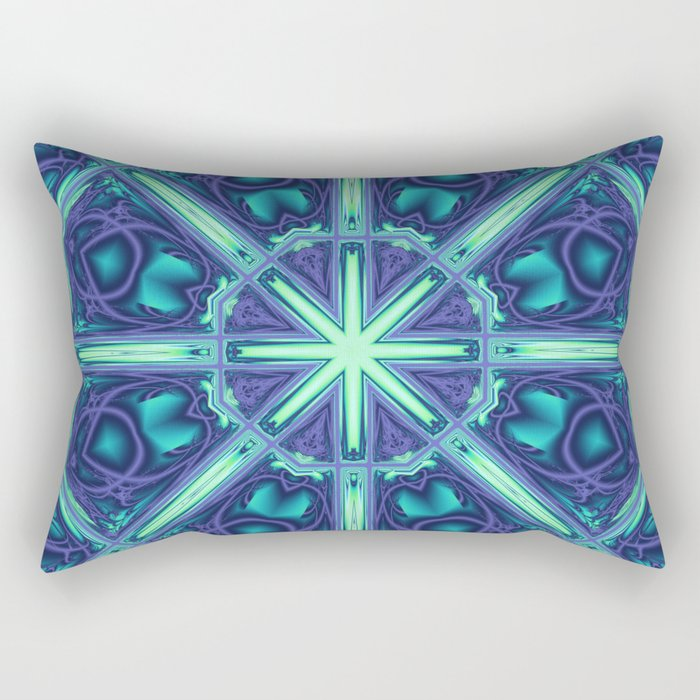 Kaleidoscope abstract in blue, purple and green Rectangular Pillow