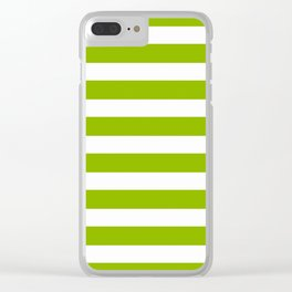 Spring Fresh Apple Green & White Stripes- Mix & Match with Simplicity of Life Clear iPhone Case