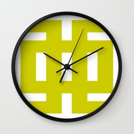 Chartreuse & White Graphic B Wall Clock