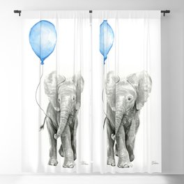 Baby Animal Elephant Watercolor Blue Balloon Baby Boy Nursery Room Decor Blackout Curtain