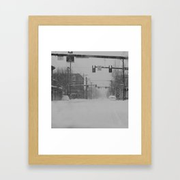 Snow Storm in Downtown - One Way Framed Art Print