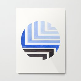 Marine Blue Circle Round Framed Mid Century Modern Aztec Geometric Pattern Maze Metal Print