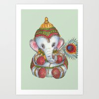 ganesh Art Prints featuring Ganesh by coconuttowers
