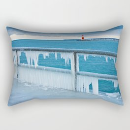 Mole with lighthouse in Warnemuende Rectangular Pillow