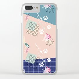 Memphis.Colorful retro pattern. Clear iPhone Case