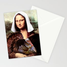 Mona Lisa Thanksgiving Pilgrim Stationery Cards