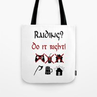 vikings Tote Bags featuring Raiding 2, Vikings by ZsaMo Design