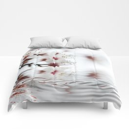 white cherry blossom and water reflection Comforters
