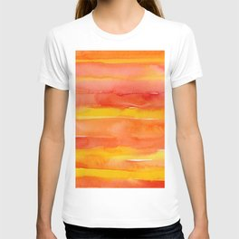 Watercolor Pattern Abstract Summer Sunrise Sky on Fire T-shirt