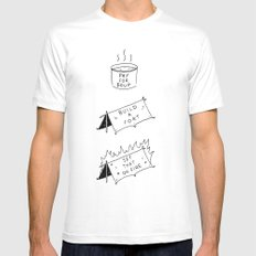 Pay for soup, build a fort, set that on fire MEDIUM White Mens Fitted Tee